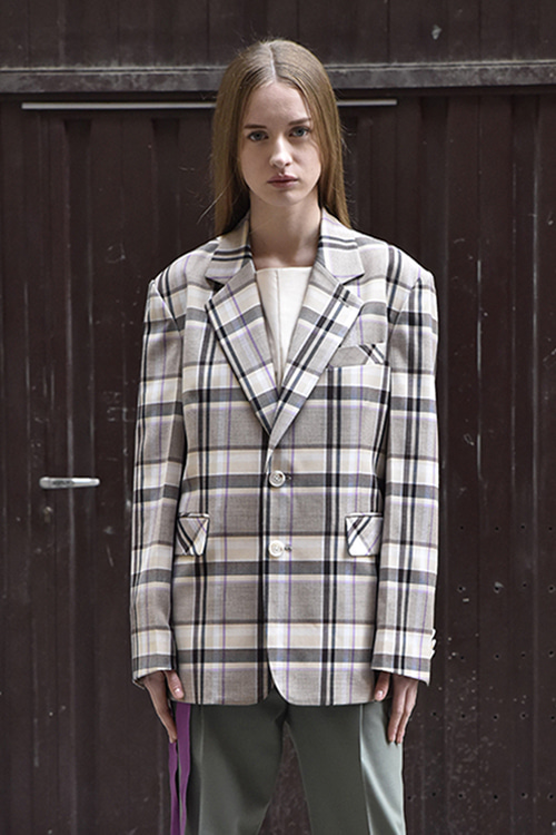 1021 Oliver Check Single Jacket (purple check)