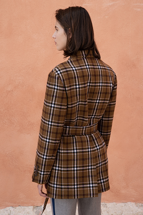 [이다희 착용]1041 Collin check belted jacket (camel)