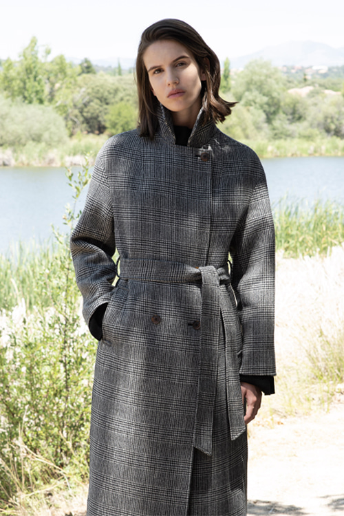 6062 Lana double cashmere handmade coat (black check)