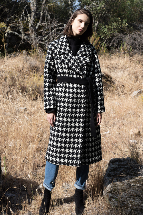 6071 Sofia check double coat (black check)