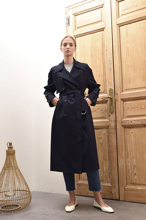 [강예원 착용]ADS-TCC602-10 EMILY DOUBLE TRENCH COAT (Navy)