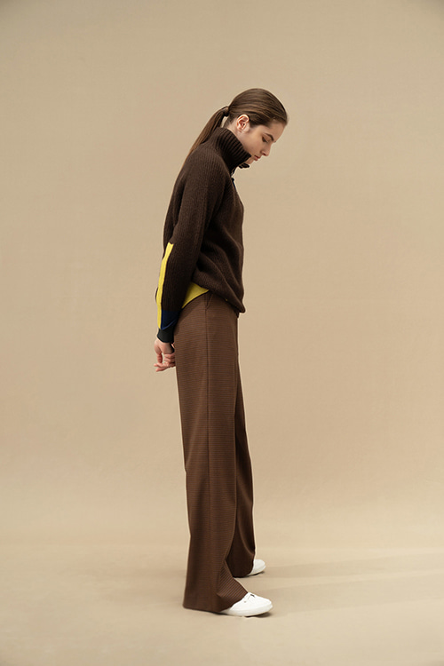 [8/18-8/19 순차적 배송]ADF-PTI201-40 MARTIN HOUND TOOTH SEMI WIDE PANTS (BR Check)