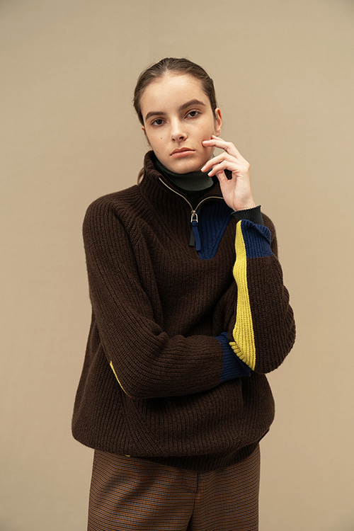 CASHMERE ZIPUP KNIT (Brown)