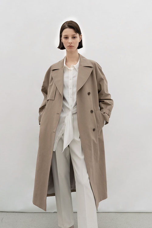 COTTON BLENDED TRENCH CT (COCOA)