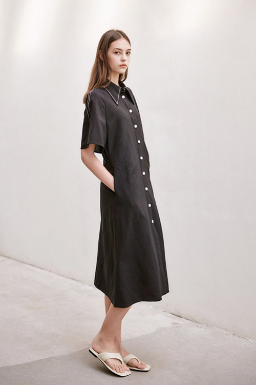 [SUMMER WOOL] LINEN WAIST DARTS ONE-PIECE (BLACK)