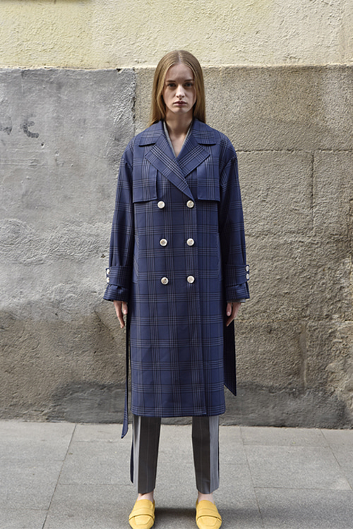 6012 Therese Check Trench Coat (navy check)