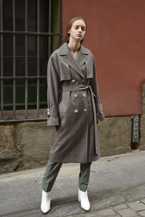 6011 Therese Check Trench Coat (brown check)
