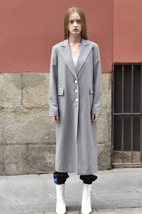 6041 Allen Stripe Long Jacket (grey stripe)