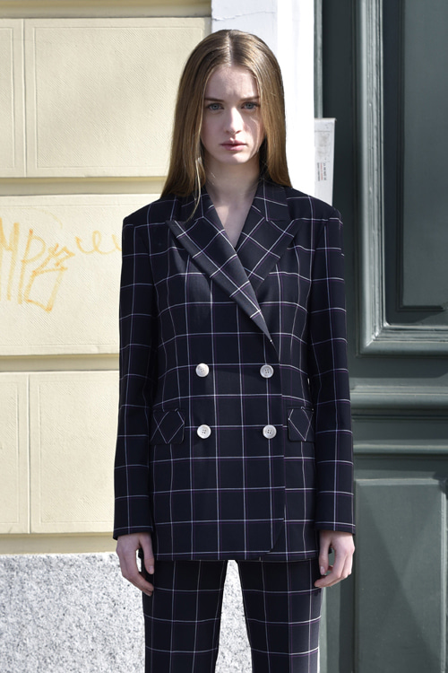 [성유리 착용]1013 Biella Check Jacket (Navy check)