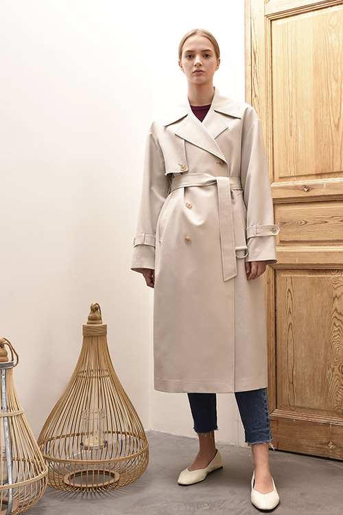 ADS-TCC602-30 EMILY DOUBLE TRENCH COAT (Sand beige)