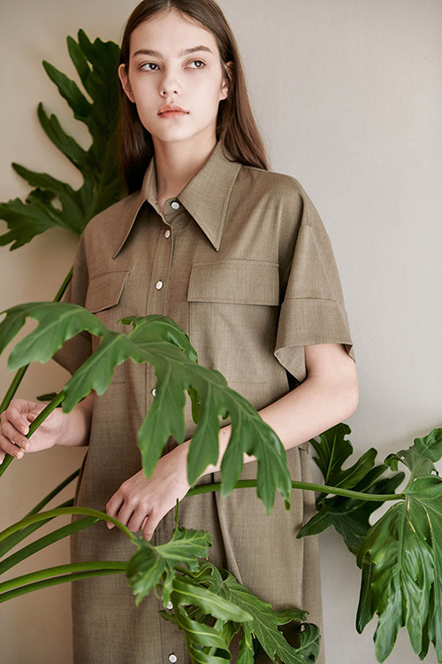 [SUMMER WOOL] H-LINE LONG SHIRT ONE-PIECE (BEIGE)