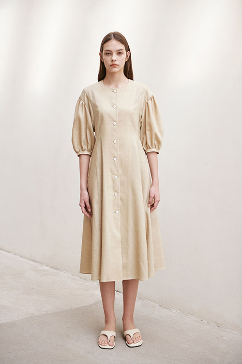 [SUMMER WOOL] LINEN PUFF A-LINE ONE-PIECE (BEIGE)